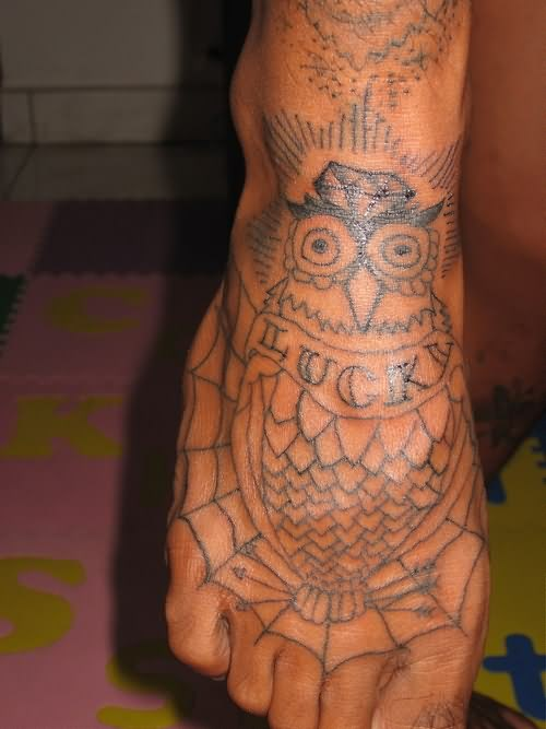 Luck Owl And Spiderweb Tattoos On Foot
