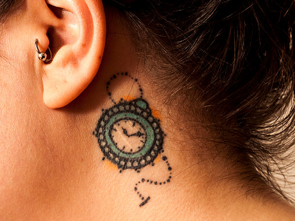 Macro Clock Tattoo Behind Ear