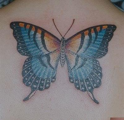 Magnificent 3D Butterfly Tattoo On Upperback