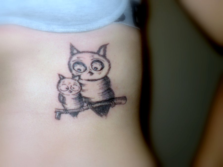 Mama And Baby Owl Tattoos