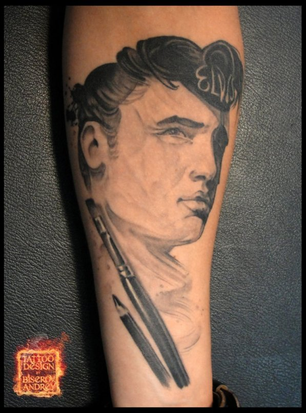 Man Brush And Pencil Portrait Tattoos