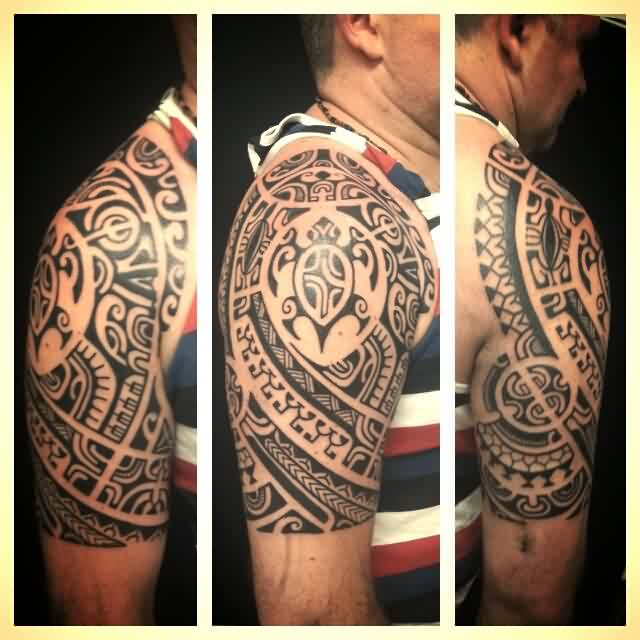 Man With Half Sleeve Polynesian Maori Tattoos