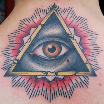 Mandala Behind Eye Triangle Tattoo