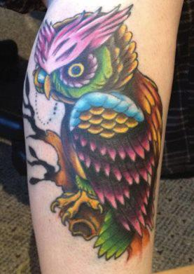 Many Color Owl Tattoo