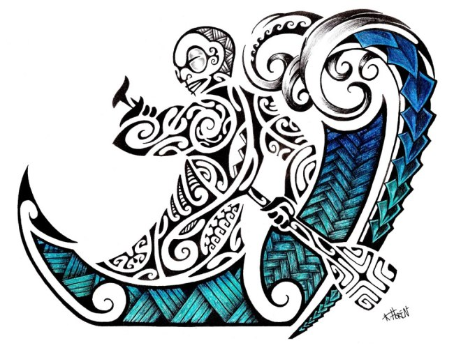 Maori Fusion Tiki Waves Tattoo Drawing