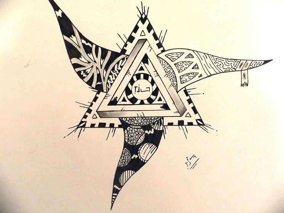 Maori Penrose Triangle Tattoo Flash