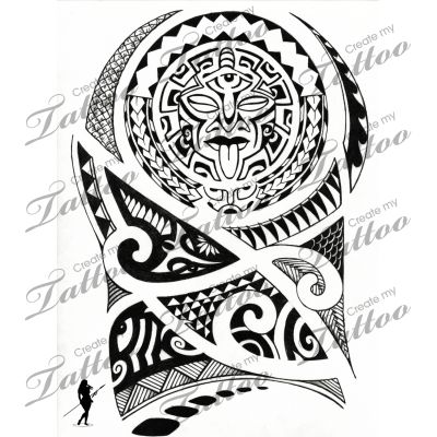 Maori Polynesian Mask Tattoo Design
