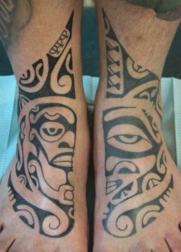 Maori Polynesian Mask Tattoos On Feet