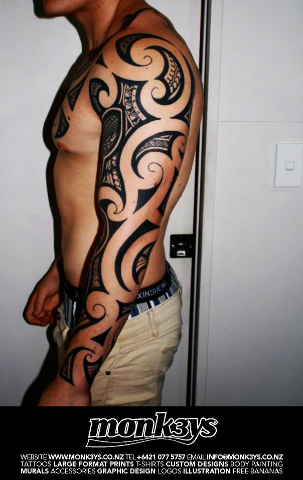 Maori Polynesian Shark Full Sleeve Tattoos
