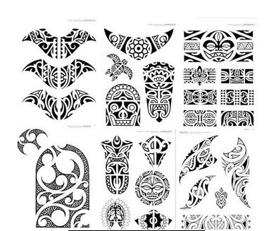 Maori Tribal Polynesian Tattoos Set