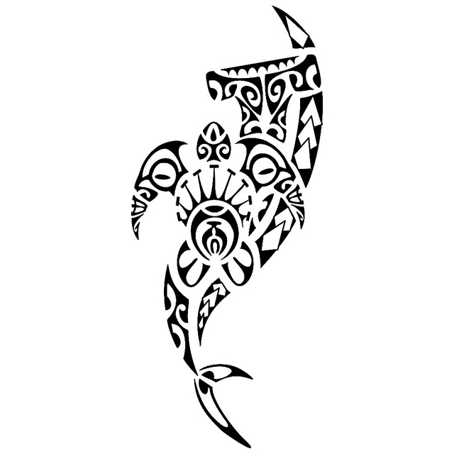 Maori Turtle And Hammerhead Shark Tattoo Designs
