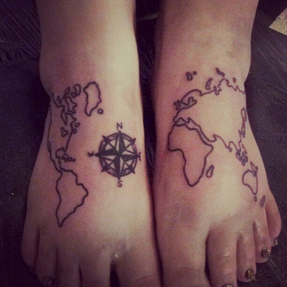 Map And Compass Tattoos On Feet