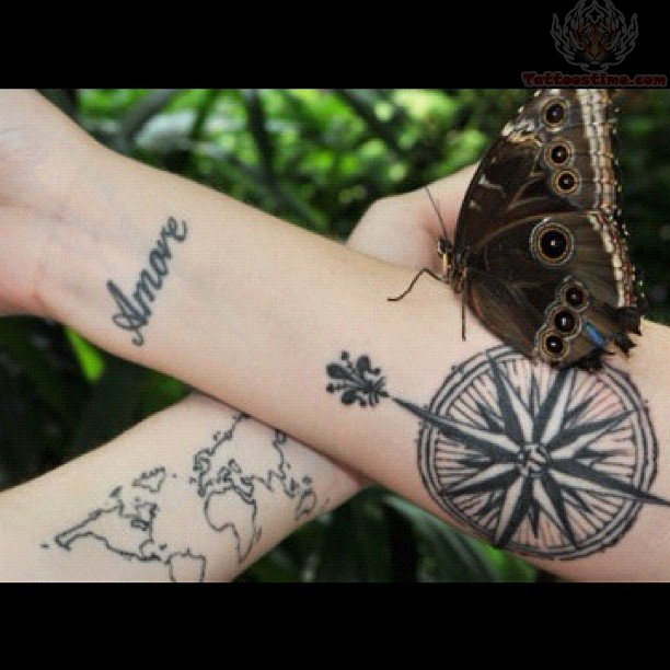 Map And Compass Tattoos On Forearms