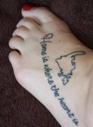 Map And Quote Tattoos On Foot