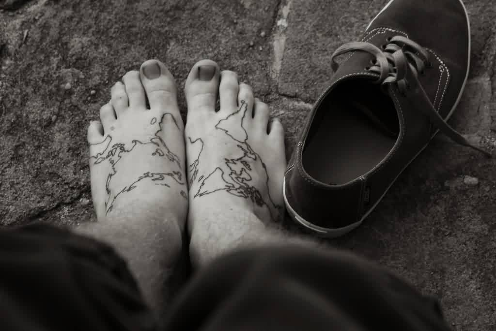 Map Tattoos On Feet