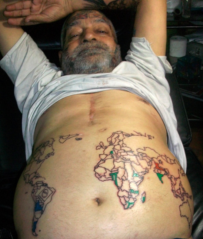 Map Tattoos On Stomach Of Old Man