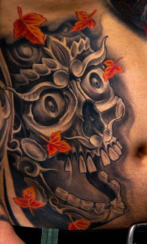 Maple Leafs And Skull 3D Tattoos On Side Stomach