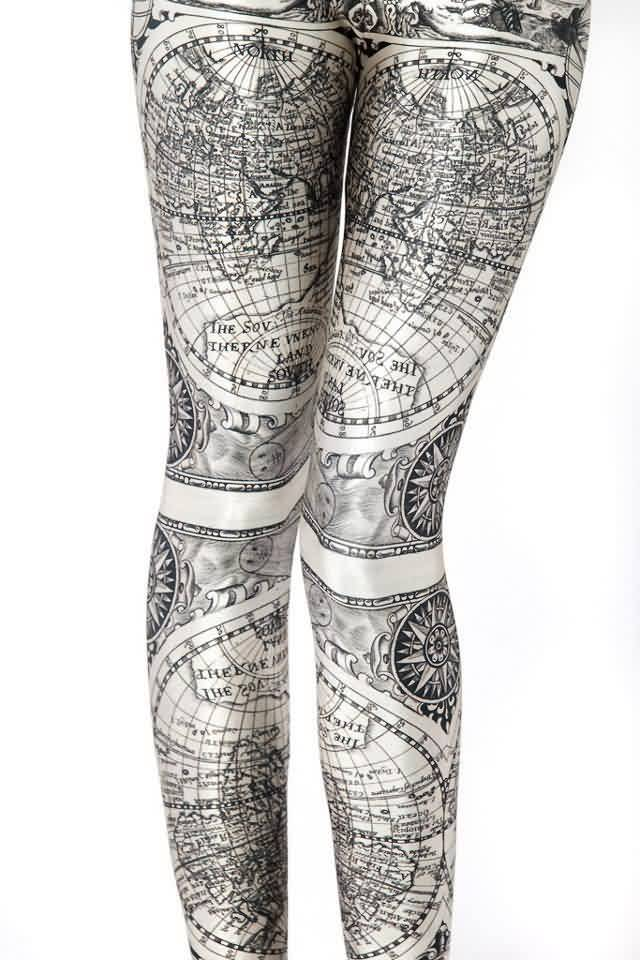 Maps And Compass Tattooed Legs