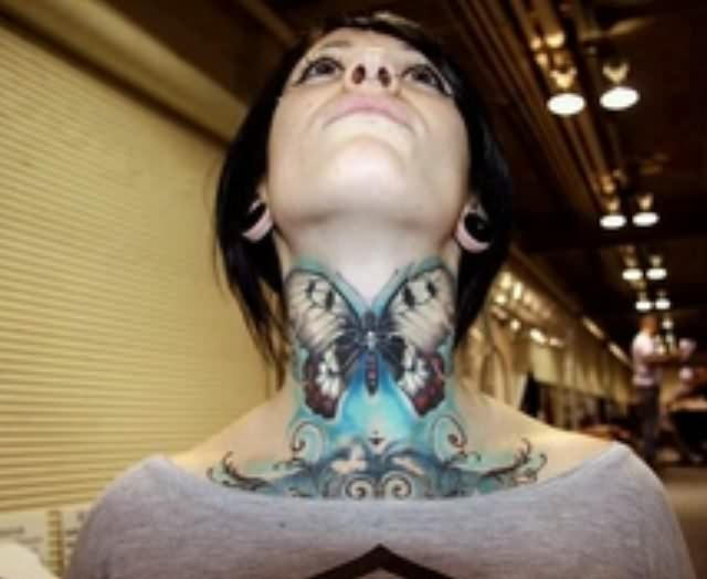 Marvelous 3D Butterfly Tattoo On Throat