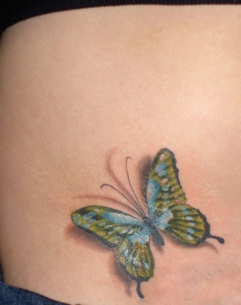 Marvelous 3D Butterfly Tattoo On Waist