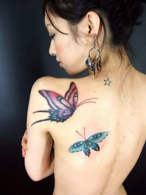 Marvelous 3D Spider Tattoos On Left Back Shoulder