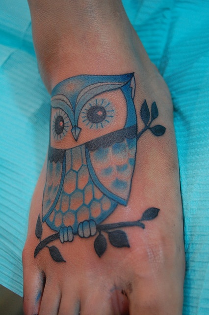 Marvelous Blue Owl Tattoo On The Foot