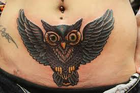 Marvelous Owl Tattoo Below Belly Button