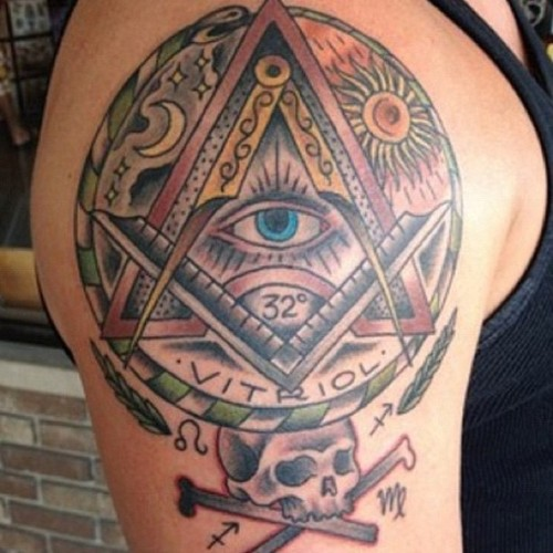Masonic Triangle Eye Tattoo On Right Shoulder