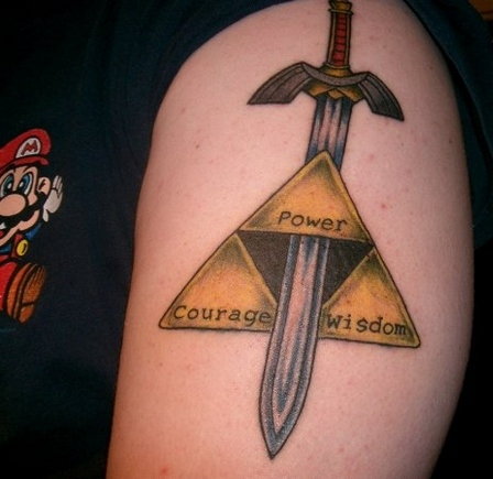 Master Sword Triforce Triangle Tattoo On Shoulder