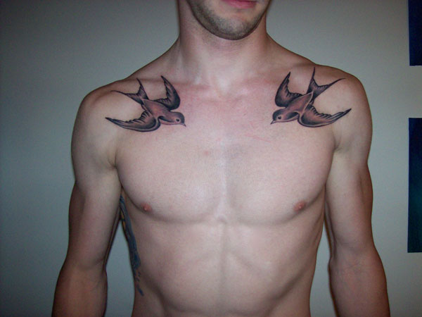 Matching Bird Tattoos On Collarbones For Men