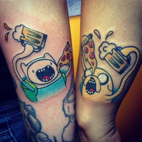 Matching Cartoon Beer And Pizza Tattoos