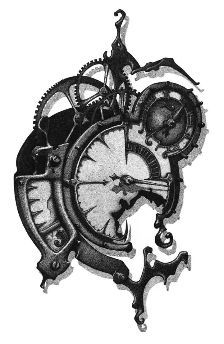 Mechanical Clock Tattoo Sketch