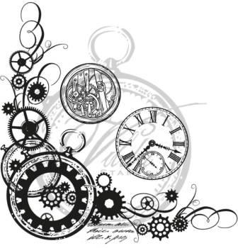 Mechanical Gears And Clock Tattoo Designs