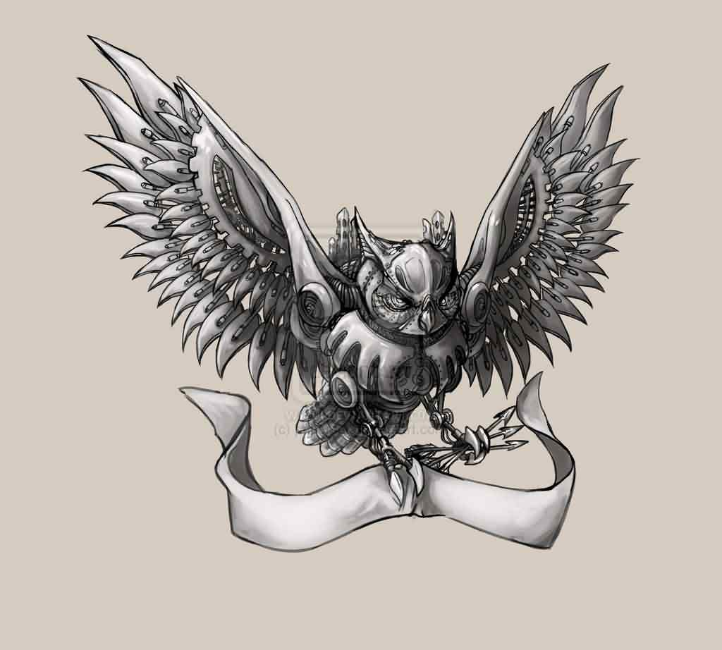 Mechanical Owl And Banner Tattoo Print