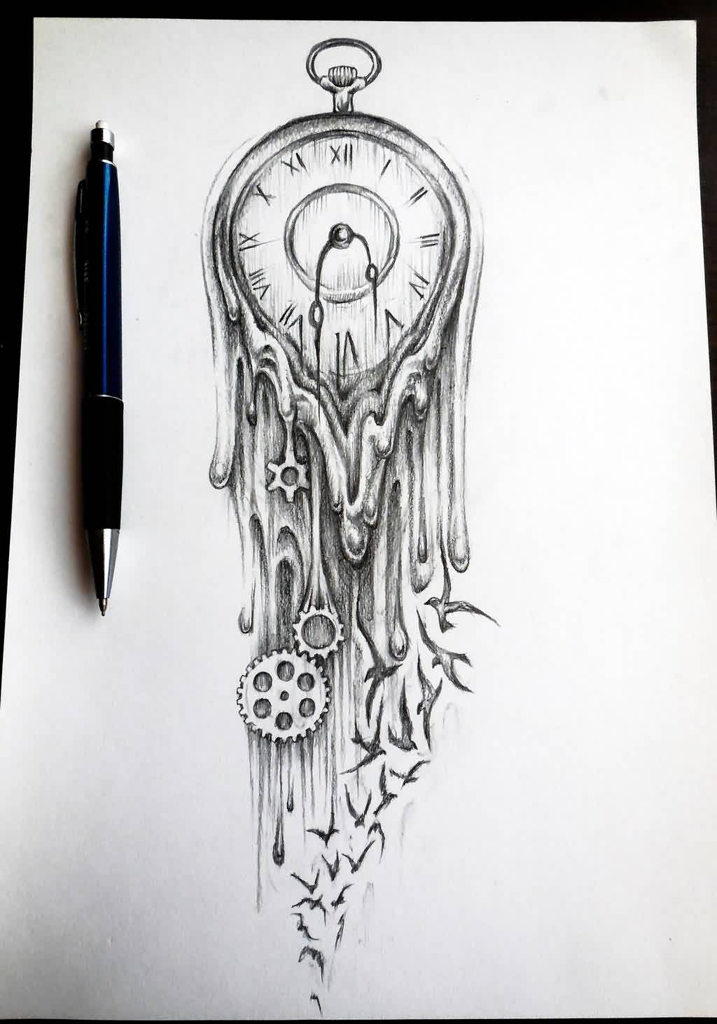 Melting Clock And Bird Tattoos Sketch