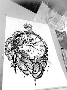 Melting Clock And Flowers Tattoos Page