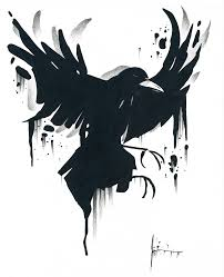 Melting Crow Tattoo Sample