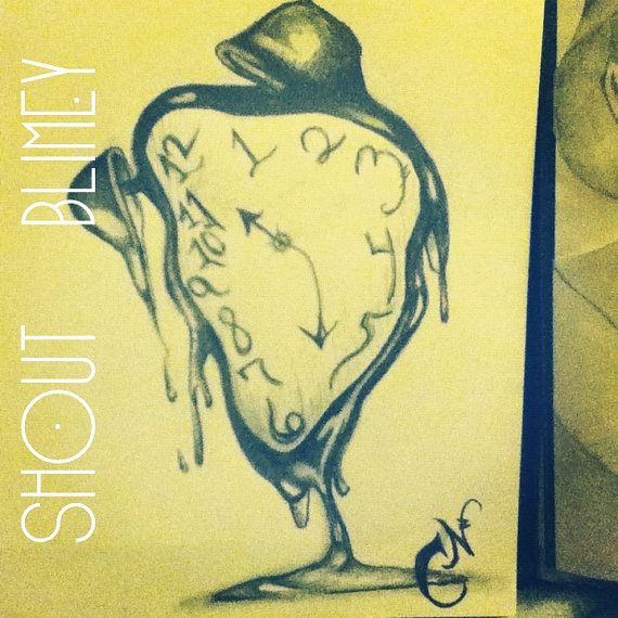 Melting Dali Clock Tattoo Drawing