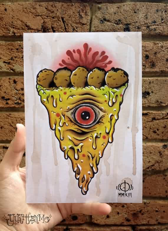Melting Eye Pizza Tattoo Design Page