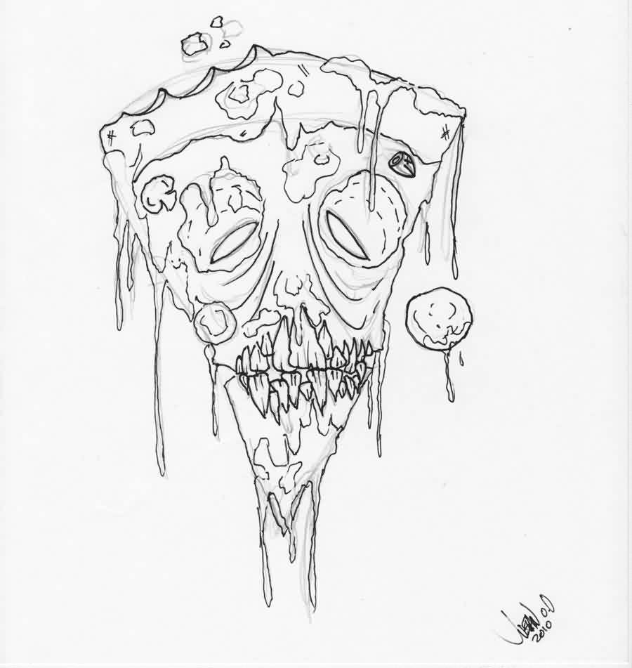 Melting Zombie Pizza Tattoo Sketch