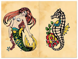 Mermaid And Seahorse Tattoos Flash