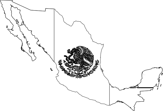 Mexico Flag Map Black White Line Art Tattoo Flag