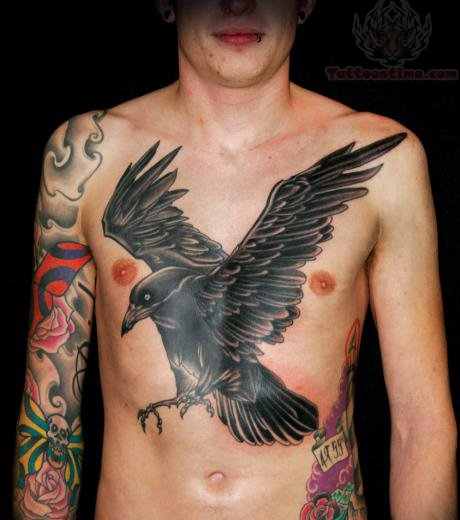 Mind Blowing Crow Tattoo On Chest For Guys