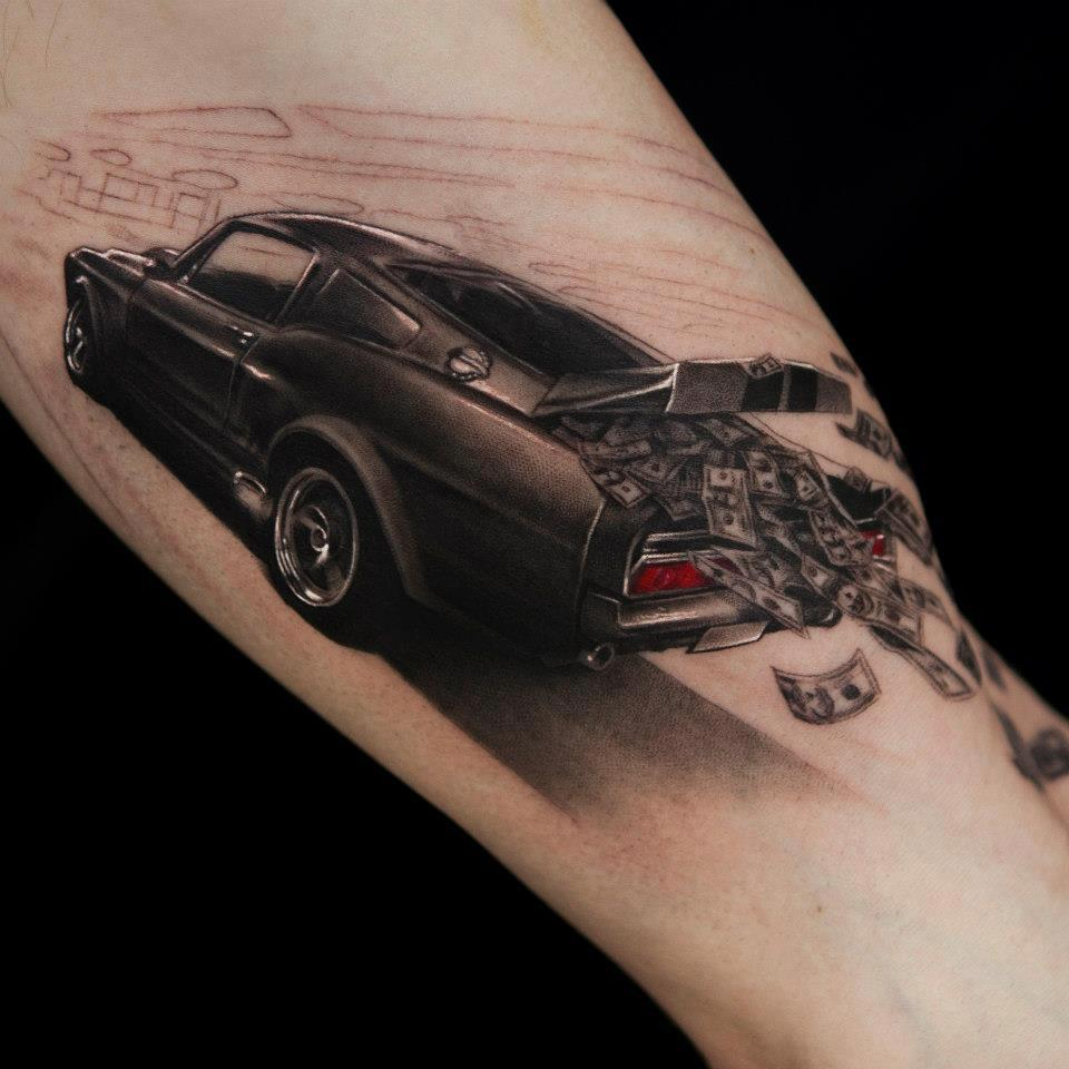 Money Falling Out From Car 3D Tattoo