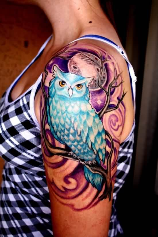 Moon And Blue Owl Tattoos On Arm