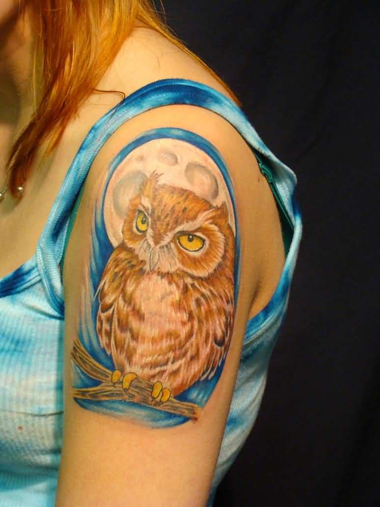 Moon And Brown Owl Tattoos On Shoulder