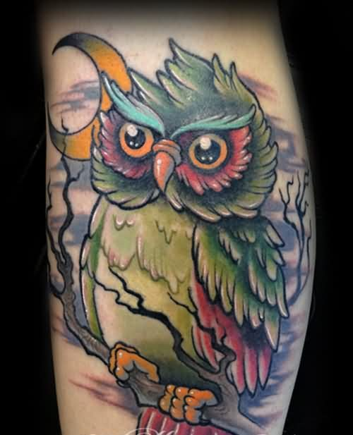 Moon And Color Owl Tattoo