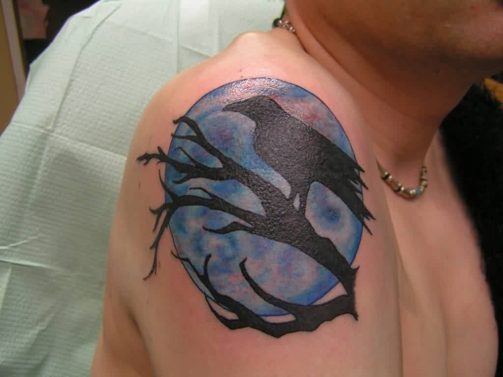 Moon And Crow Branch Tattoos On Shoulder