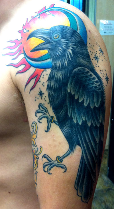 Moon And Crow Tattoos On Arm