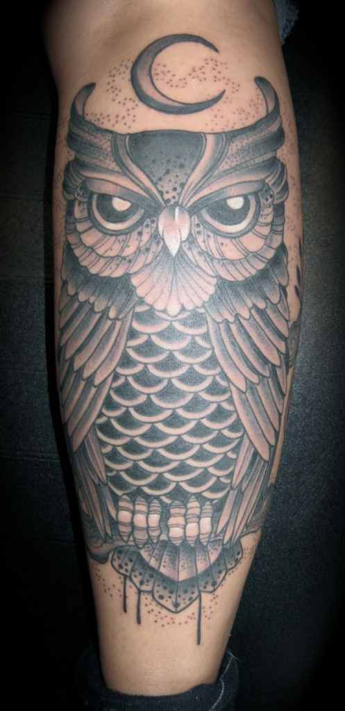 Moon And Grey Owl Tattoos